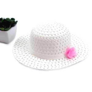 White Ribbon and Flower Fashion Straw Sun Hat